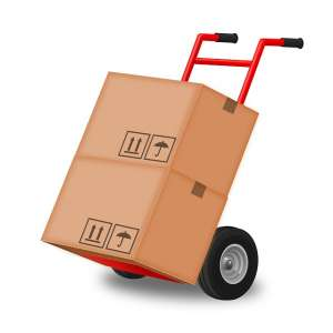Two boxes on a moving cart