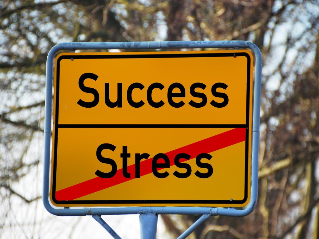 A road sign with Success and Stress stricken through.