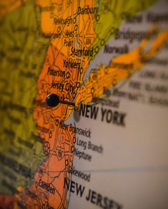 A map of New York and New Jersey.