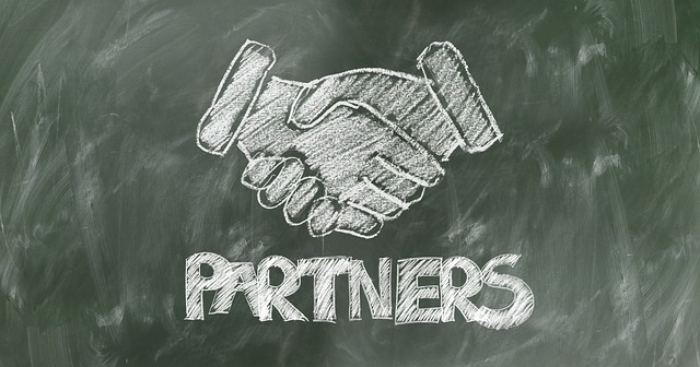 Drawing of hands shaking - partners