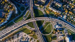 Aerial photos of roads and buildings
