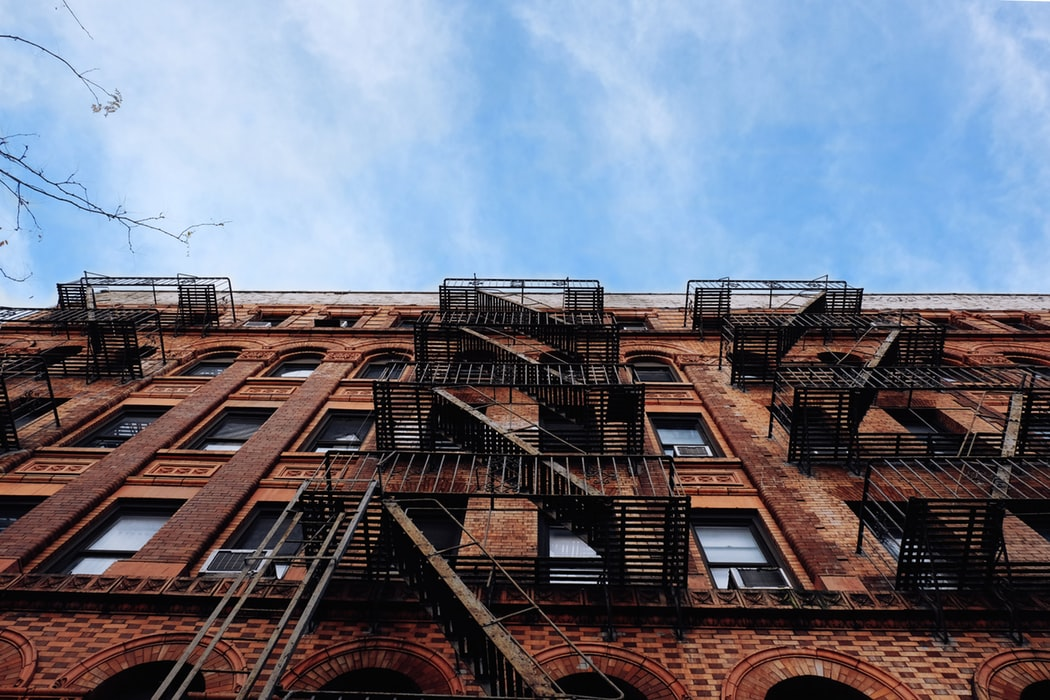 Side view of a brownstone.