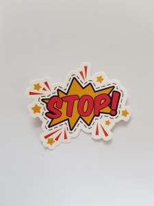"A sign in a comic bubble that says ""Stop!"""