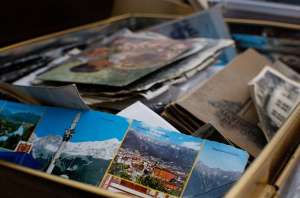 a box of photos