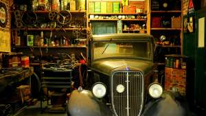 A garage filled with numerous trinkets.