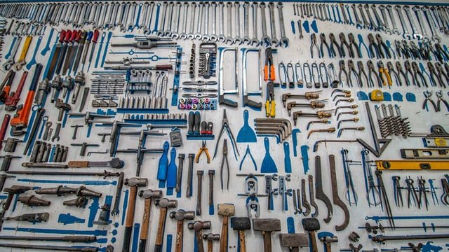 Set of tools on the wall