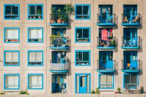 building with blue windows