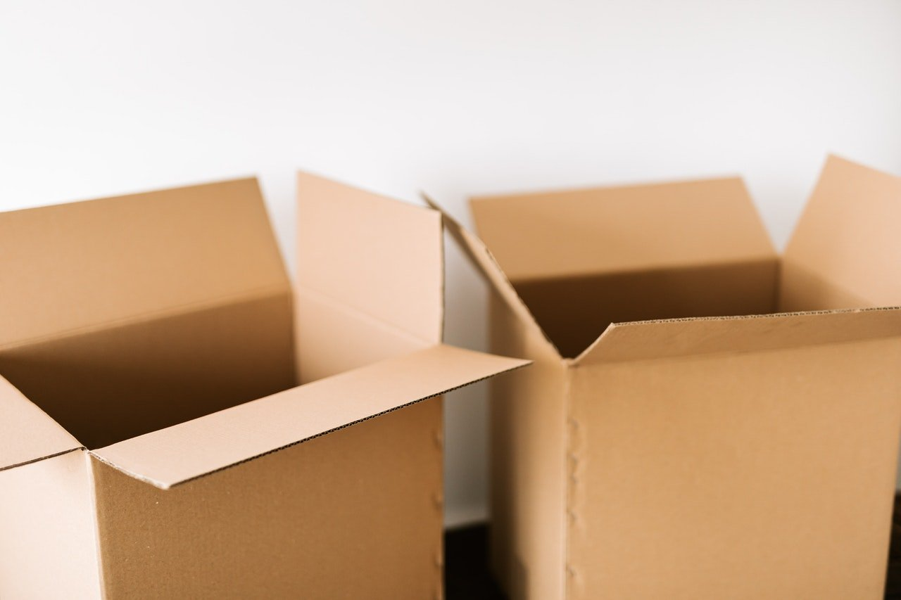 two open moving boxes
