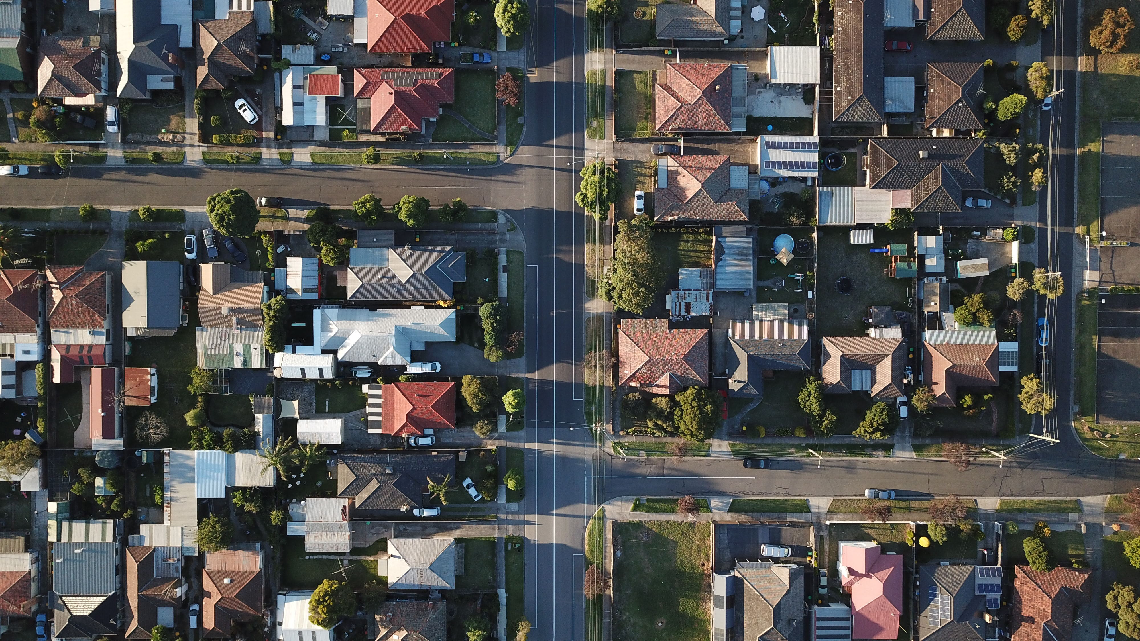 the aerial view of one neighborhood