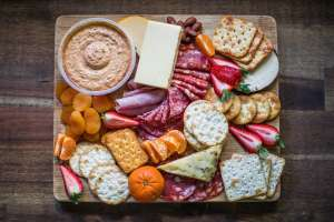 a plate with snacks