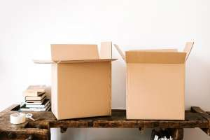 Two cardboard boxes on the table